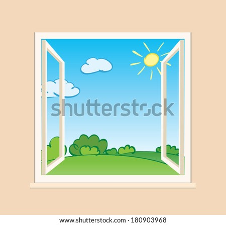 open window with green nature outside - vector illustration - stock vector