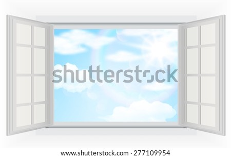 Open window, with real bright sunlight, clouds and blue sky. Vector illustrations - stock vector