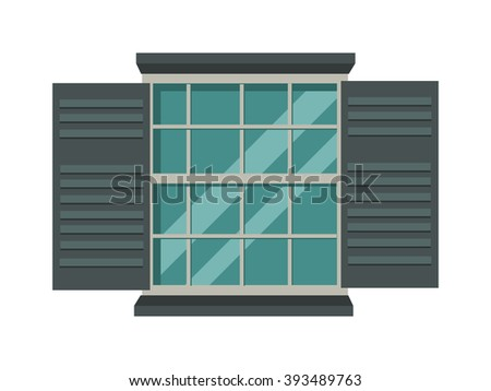 Open wood house window and glass window architecture square view. Open glass window vector. Window open interior frame glass construction isolated flat vector illustration.