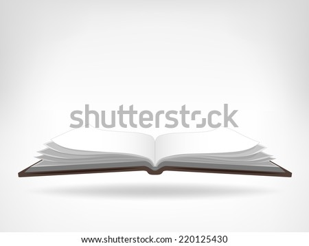 open workbook side view isolated object vector illustration - stock vector