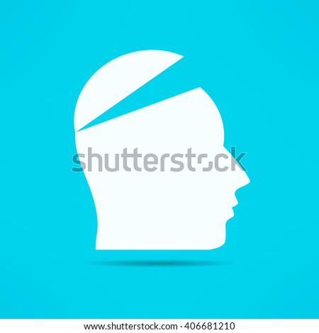 Open your mind design. Free your mind. Opened head. Attention concept. - stock vector