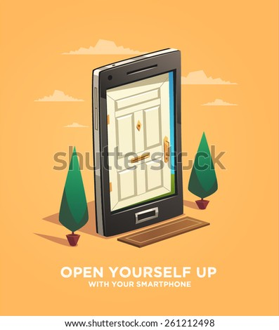 Open yourself up with your smartphone. Vector illustration. - stock vector