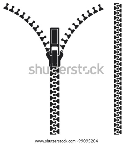 Open zipper - stock vector