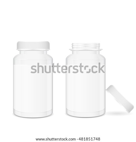 Opened and closed medical pill boxes, 3d realistic vector illustration with place for text, isolated on white background, eps 10