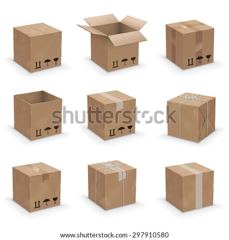 Opened and closed old, worn and new cardboard boxes. Vector illustration set - stock vector