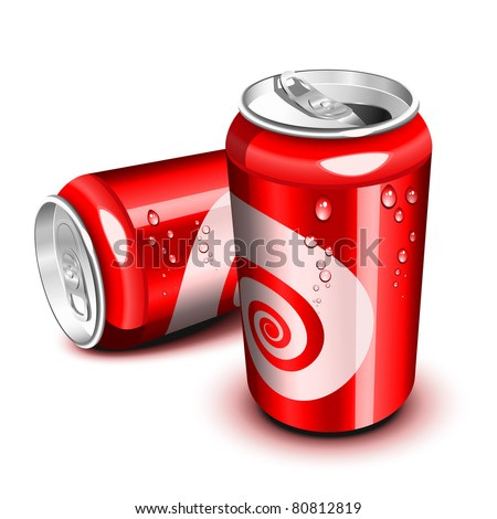 Opened and closed red cola can