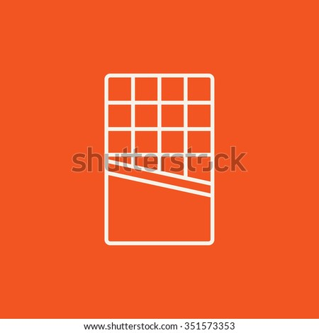 Opened bar of chocolate line icon for web, mobile and infographics. Vector white icon isolated on red background.