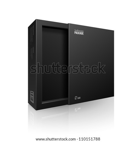 Opened Black Modern Software Package Box For DVD, CD Disk Or Other Your Product EPS10 - stock vector