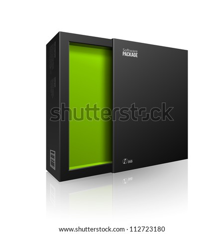 Opened Black Modern Software Package Box Green Inside For DVD, CD Disk Or Other Your Product EPS10 - stock vector