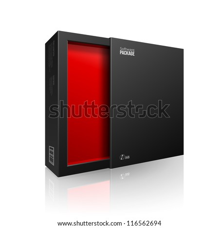Opened Black Modern Software Package Box Red Inside For DVD, CD Disk Or Other Your Product EPS10 - stock vector