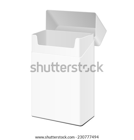 Opened Blank White Cigarettes Pack Box. Illustration Isolated On White Background. Ready For Your Design. Product Packing Vector EPS10 - stock vector