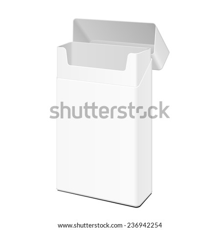 Opened Blank White Slim Cigarettes Pack Box. Illustration Isolated On White Background. Mock Up Template Ready For Your Design. Product Packing Vector EPS10 - stock vector