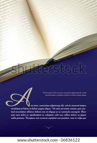 Opened book design with blank pages - stock vector