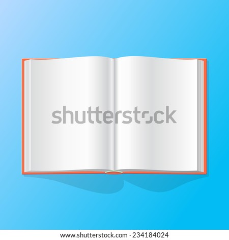 opened book with blank pages on blue background - vector graphics - stock vector