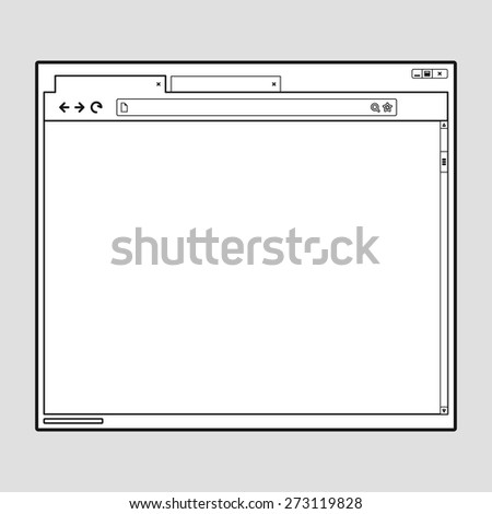 Opened browser window template. Past your content into it. web site page template - stock vector