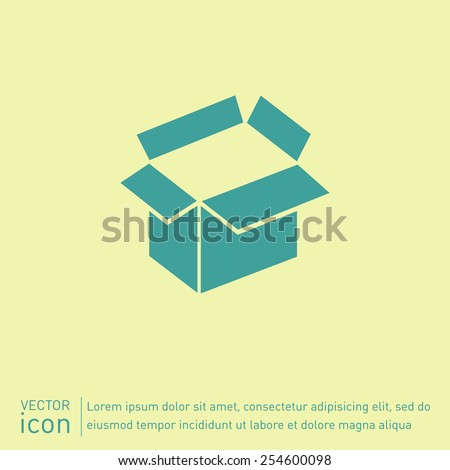 Opened cardboard box  icon - stock vector