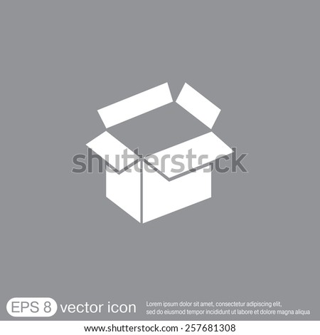 Opened cardboard box  icon - stock vector