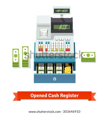 Opened cash register with printed receipt, paper money stacks and coins inside the box. Flat style vector illustration isolated on white background. - stock vector