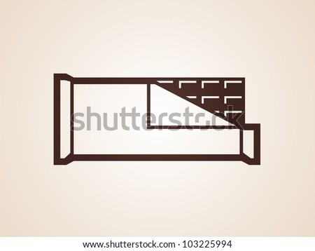Opened chocolate bar vector icon - stock vector