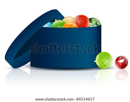 Opened Christmas box with decorative toys over white background - stock vector