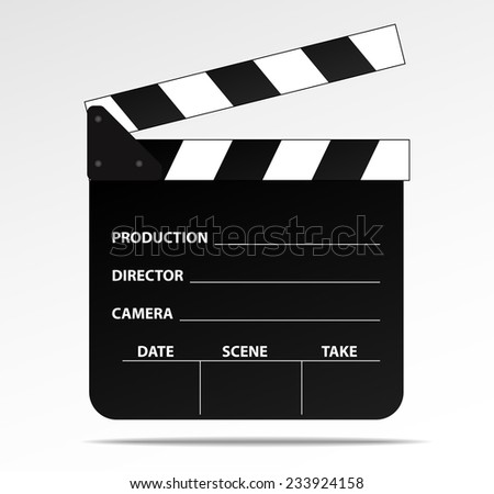 Opened clapboard, film slate, vector
