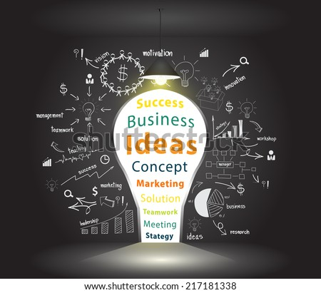 Opened concrete wall in form of a keyhole light bulb idea, With creative drawing charts and graphs business success strategy plan inspiration concept idea, Vector illustration modern template design - stock vector