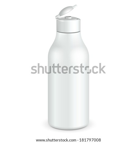 Opened Cosmetic Or Hygiene Grayscale White Plastic Bottle Of Gel, Liquid Soap, Lotion, Cream, Shampoo. Ready For Your Design. Illustration Isolated On White Background. Vector EPS10  - stock vector