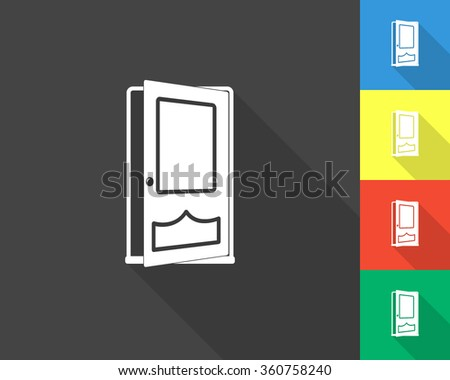 opened door icon - gray and colored (blue, yellow, red, green) vector illustration with long shadow - stock vector