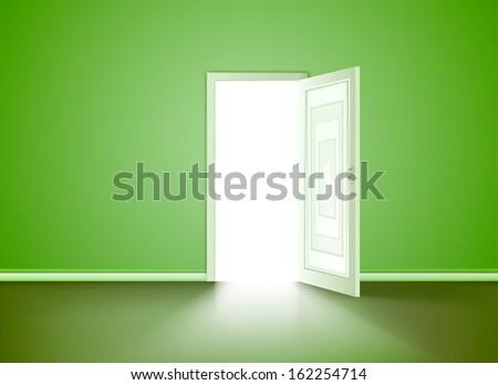 Opened door in the green wall. Vector - stock vector