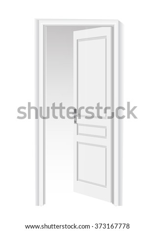 Opened door . Isolated on white background open door with frame