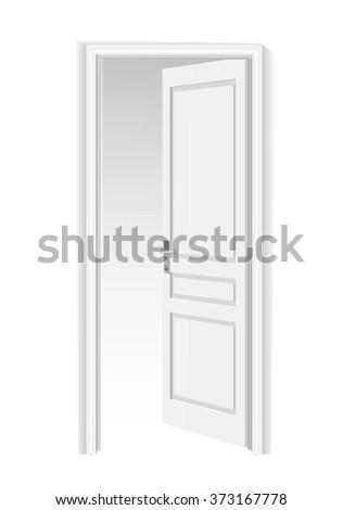 Opened door . Isolated on white background open door with frame - stock vector