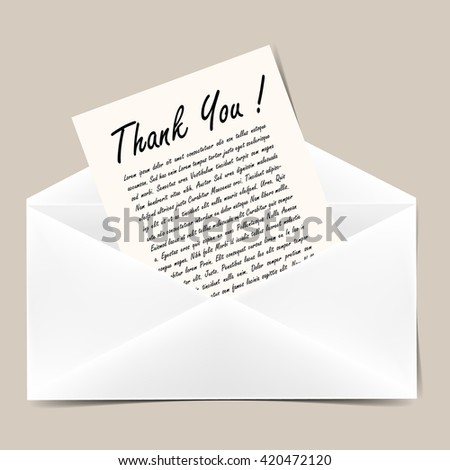 Opened envelope with letter. Title Thank you ! Vector illustration. - stock vector