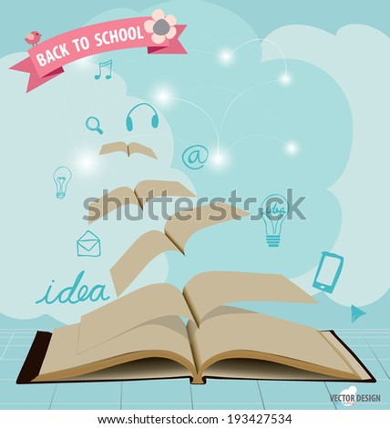 Opened flying books with application icon, modern template design. Vector illustration. - stock vector