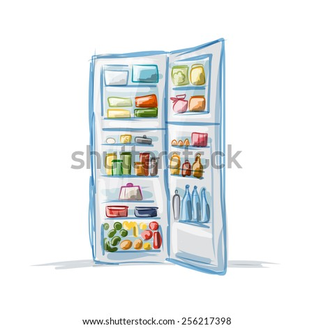 Opened fridge full of food, sketch for your design. Vector illustration - stock vector