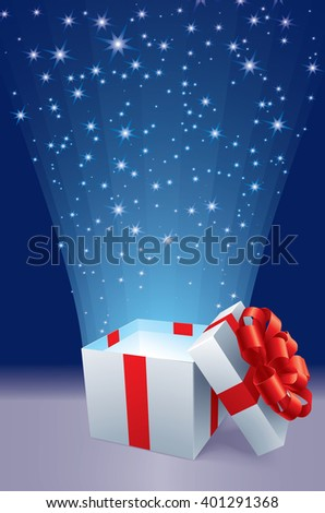 Opened gift box with blue star. - stock vector