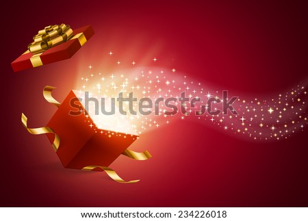 opened gift box, with firework and flow of sparks from it, holiday background, EPS 10 contains mesh. - stock vector