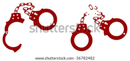 Opened handcuffs and broken handcuffs - stock vector