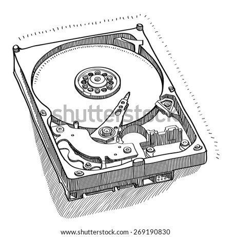 opened hard drive. Hand-drawn vector drawing.