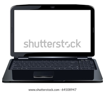 Opened laptop. All elements and textures are individual objects. Vector illustration scale to any size. - stock vector