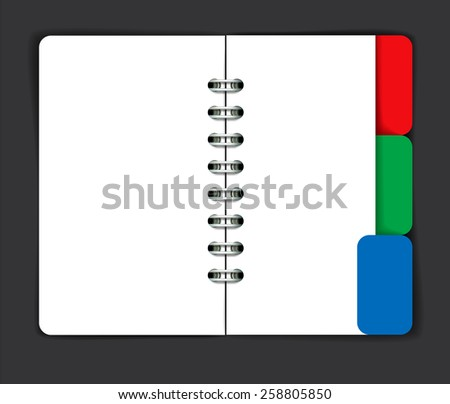 Opened note pad with blank spread. Vector illustration - stock vector