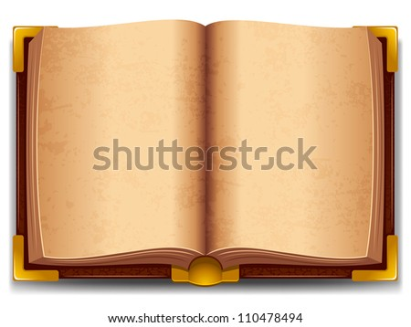 Opened old book in leather cover and with golden decoration. - stock vector