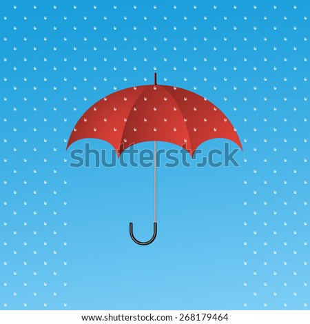 Opened red umbrella protecting from rain. Protection symbol. - stock vector