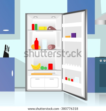 Opened Refrigerator Food Home Kitchen Interior Flat Vector Illustration - stock vector