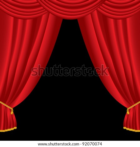 opened stage with red curtain - stock vector