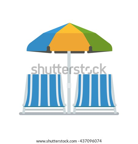 Opened sun umbrella and deckchairs vector illustration isolated on white background. Chaise lounge pair under parasol in flat design. Beach chaise-lounging concept image. Summer beach elements. - stock vector