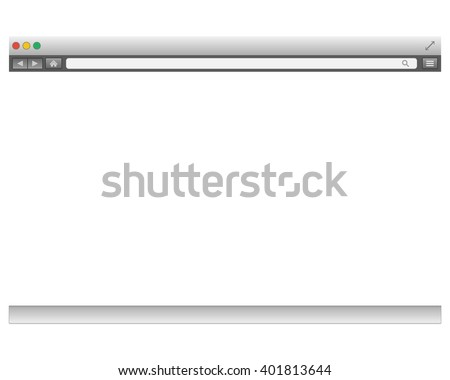 Opened template. Grey website display bar isolated. Navigation button forward, back, home, search, menu. Business concept commerce site. Background interface. Past content Vector illustration eps10