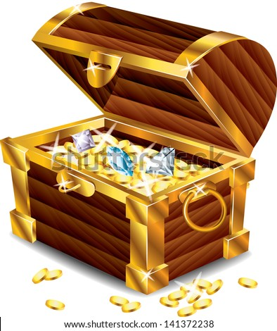 opened treasure chest with treasures photo-realistic vector - stock vector