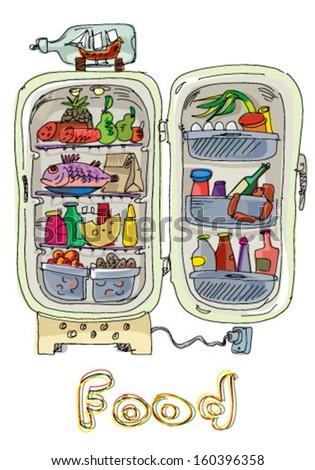 opened vintage fridge full of food - cartoon - stock vector