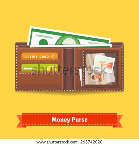 Opened wallet flat style icon. With plastic cards, dear photo and cash. - stock vector