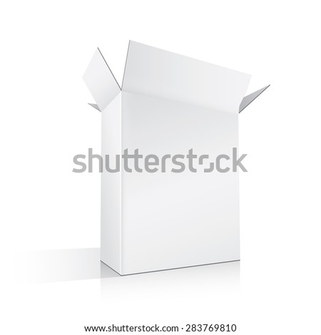 Opened White Box, vector illustration